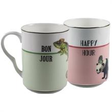 YE - Coffret 2 mugs 28 cl Bonjour / Happy Hour