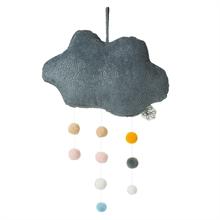 Picca Loulou - Nuage gris en velours côtelé avec pompoms - 34 cm - %