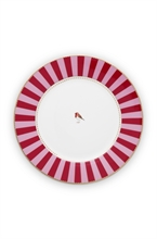 PIP -  Assiette plate Love Birds Bande Rouge/Rose- 26,5cm