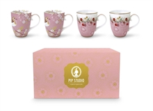 Coffret 4 grands mugs Floral2 rose