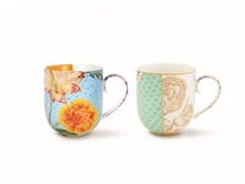 HC2 PIP - Coffret 2 grand mug Royal Bleu flowers - 32.5cl#