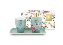 PIP - SDB Coffret 3 accessoires bain Floral2 Good Morning Bleu