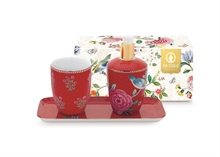 PIP - SDB Coffret 3 accessoires bain Floral2 Good Morning Rouge