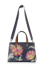 PIP - BAG Sac Shopper Small Jambo Flower Bleu - 33/39x10x22cm