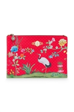 HC3 PIP - SDB Cosmetic Flat Pouch Large Floral Good Morning Rouge - 27x18x1cm