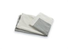 Plaid coton lin rayures Gris foncé - 50x70cm