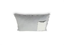 Coussin coton lin rayures avec poche Gris Blanc - 50x70cm