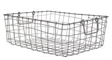 Panier à fil rectangulaire métal M brut - 42x33x15cm