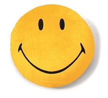 Smiley - Coussin rond jaune 35cm