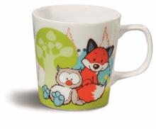 Mug enfant Chouette & Renard ø8x8,5cm en porcelaine