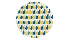 HC3 PG Assiette de présentation Motif Trois gouttes pluie Curry 31cm